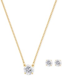 Swarovski Gold Tone Clear Crystal Round Stone Pendant Necklace And Stud Earrings Set