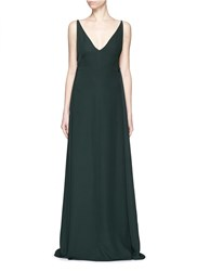 Valentino Low Back V Neck Silk Cady Crepe Gown Green