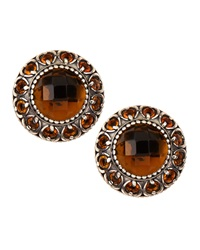 Konstantino Sterling Silver Cognac And Citrine Round Button Earrings