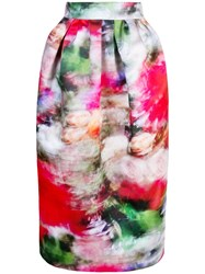 Adam By Adam Lippes High Waisted Floral Print Skirt Pink