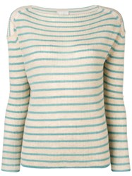 Forte Forte Striped Round Neck Juumper Neutrals