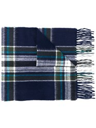 Begg And Co Tartan Check Scarf Blue