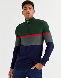 New Look Half Zip Funnel Neck In Colour Block Green