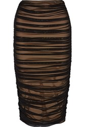 Norma Kamali Ruched Stretch Tulle Skirt Black
