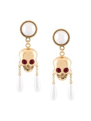 Moschino Skull And Pearl Clip On Earrings Metallic