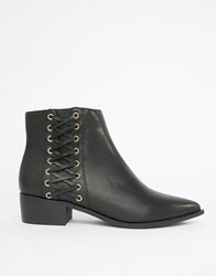 London Rebel Pointed Flat Ankle Boots Black
