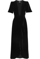 Reformation Velvet Wrap Dress Black