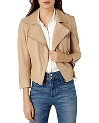 Karen Millen Leather Biker Jacket Neutral
