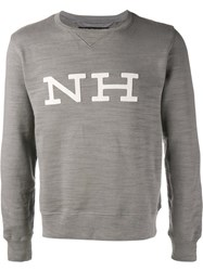Neighborhood Logo Applique Sweatshirt Grey