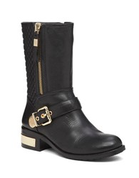 Vince Camuto Whynn Moto Quilted Leather Mid Calf Boots Black