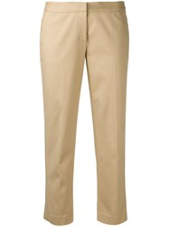 Michael Michael Kors Straight Cropped Trousers Women Cotton Spandex Elastane 8 Nude Neutrals