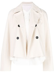 Jil Sander Navy Caped Military Jacket Nude And Neutrals