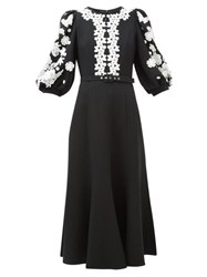 Andrew Gn Balloon Sleeve Lace Trimmed Crepe Dress Black White