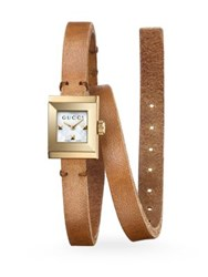 Gucci G Frame Leather Wrap Strap Watch Gold