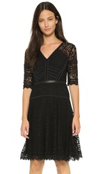 Rebecca Taylor Short Sleeve Lace Dress Black