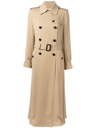 Valentino Double Breasted Trench Coat Women Silk 42 Nude Neutrals