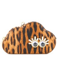 Sophie Hulme Leopard Print Cloud Coin Purse Women Calf Leather One Size Brown