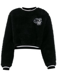 Off White Textured Cropped Jumper Black