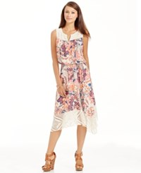 Styleandco. Style And Co. Petite Floral Print Lace Midi Dress