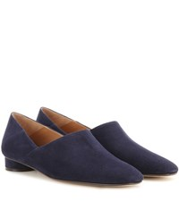 The Row Noelle Suede Slippers Blue