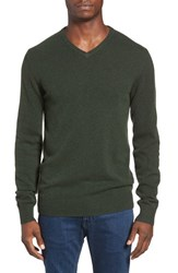 Men's 1901 'Granite Peak' Wool Blend V Neck Sweater Green Forest