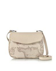 Alviero Martini 1A Classe Small Geo Safari Print And Cream Grained Leather Crossbody Bag