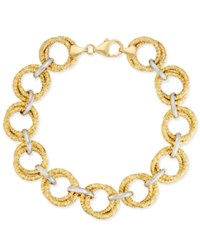 Macy's Two Tone Circle Link Bracelet In 14K Gold Plated Sterling Silver And Sterling Silver Two Tone