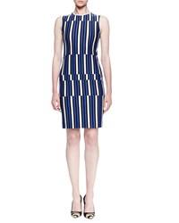 Lanvin Uneven Striped Jersey Sheath Dress Electric Blue