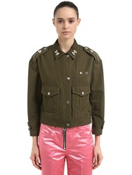 Coach Embellished Cotton Field Jacket Military Green