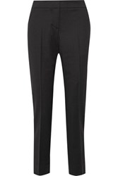 Oscar De La Renta Cropped Stretch Wool Tapered Pants Black