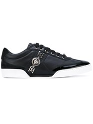 Versace Signature Medusa Crest Sneakers Men Leather Patent Leather Suede Rubber 40 Black