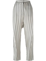 Alberto Biani Striped Trousers Grey