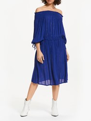 And Or Monique Off Shoulder Glitter Stripe Midi Dress Cobalt
