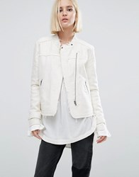 Pepe Jeans Iren Collarless White Denim Jacket Natural