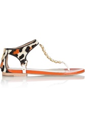 Just Cavalli Leopard Print Calf Hair And Patent Leather Sandals Orange