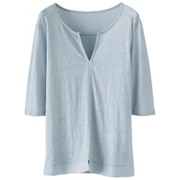 Poetry Silk Trim Jersey Tunic Top Pale Chambray