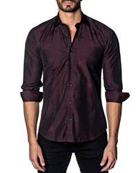 Jared Lang Modern Fit Star Print Long Sleeve Shirt Burgundy Stars