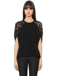 Valentino Wool And Cashmere Knit And Lace Top
