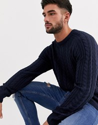 New Look Cable Knit Crew Neck Jumper In Navy