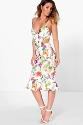 Boohoo Floral Cut Out Side Peplum Hem Midi Dress Multi