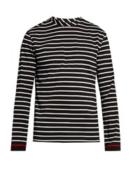Mcq By Alexander Mcqueen Striped Cotton Long Sleeved Top Black Multi