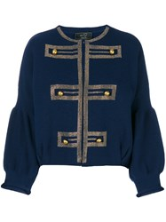 Ki6 Band Style Cropped Knitted Cardigan Polyamide Viscose Cashmere Wool Blue
