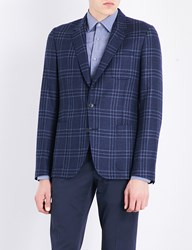 Paul Smith Checked Kensington Fit Wool And Silk Blend Jacket Blue