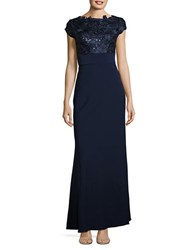 Js Collections Sequin And Floral Embroidered Cap Sleeved Gown Navy