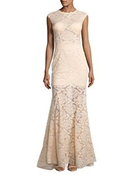 Betsy And Adam Floral Laced Mermaid Gown Champagne