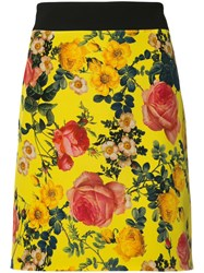 Fausto Puglisi Floral Print Mini Skirt Yellow Orange