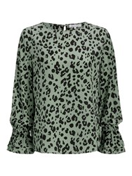 Lily And Lionel Dakota Leopard Print Silk Blouse Olive
