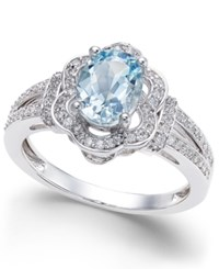 Macy's Aquamarine 9 10 Ct. T.W. And Diamond 1 3 Ct. T.W. Ring In 14K White Gold Blue