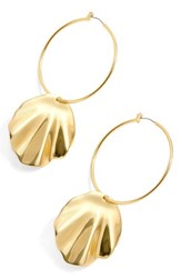 J.Crew Shell Hoop Earrings Gold