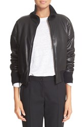 Dkny Women's Leather Bomber Jacket Black